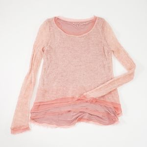 Anthropologie Knitted&Knotted Pink Ruffle Sweater
